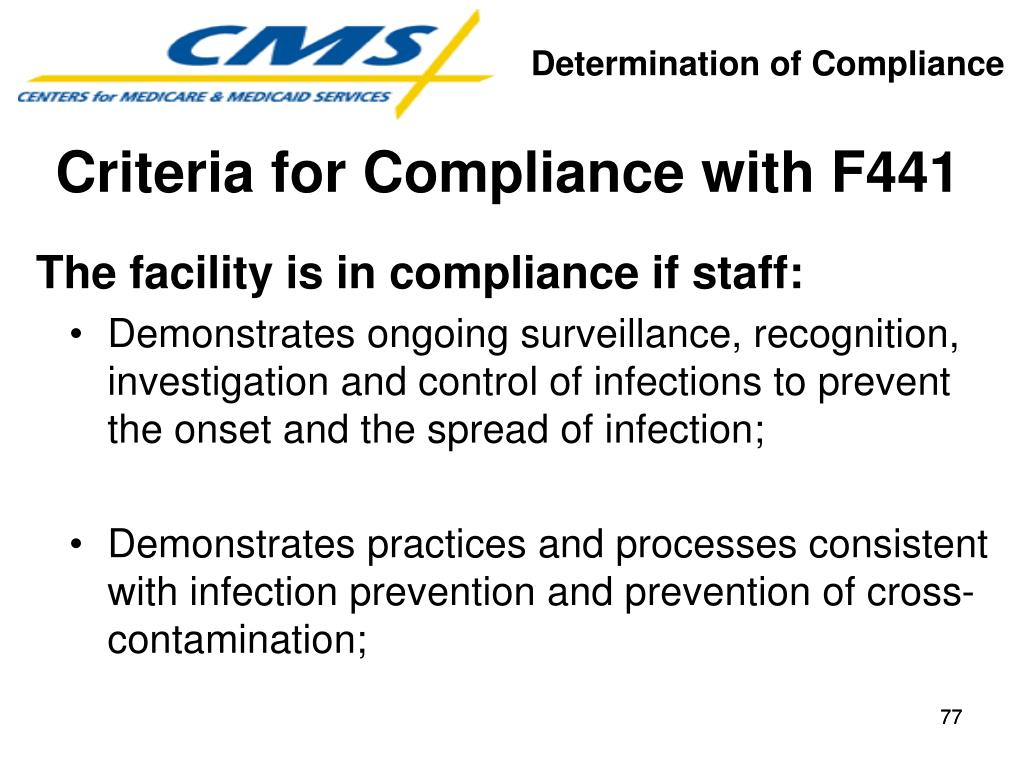 Criteria for Compliance with F441