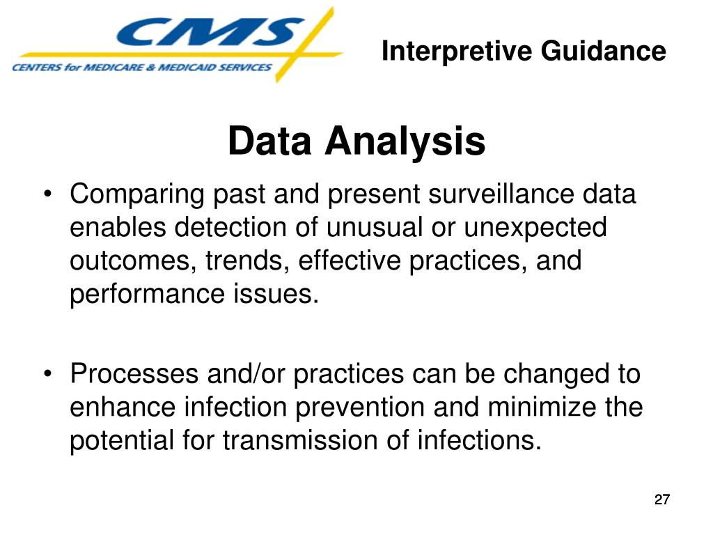 Comparing past and present surveillance data enables detection of unusual or unexpected outcomes, trends, effective practices, and performance issues.
