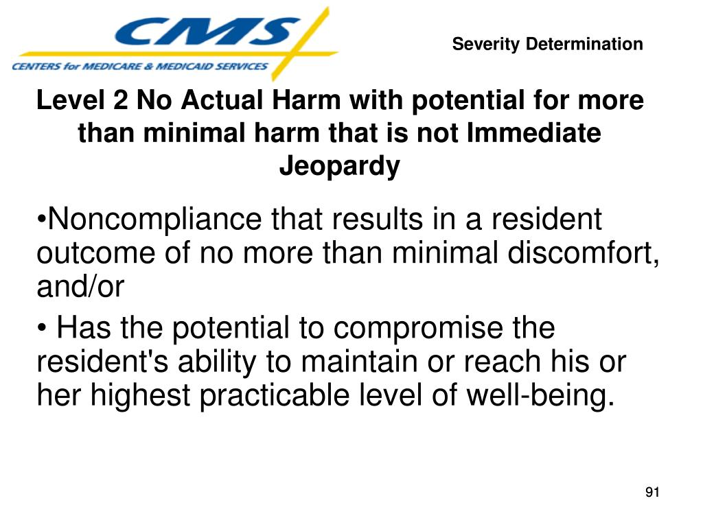 Noncompliance that results in a resident outcome of no more than minimal discomfort, and/or