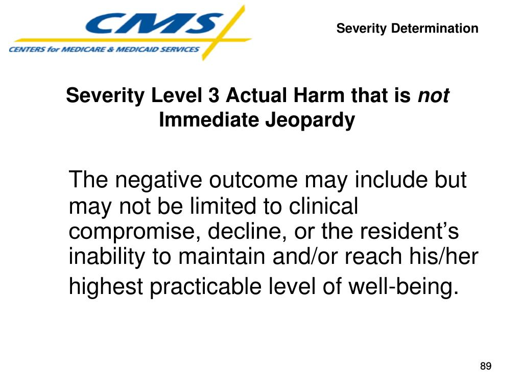 The negative outcome may include but may not be limited to clinical compromise, decline, or the resident's inability to maintain and/or reach his/her highest practicable level of well-being.