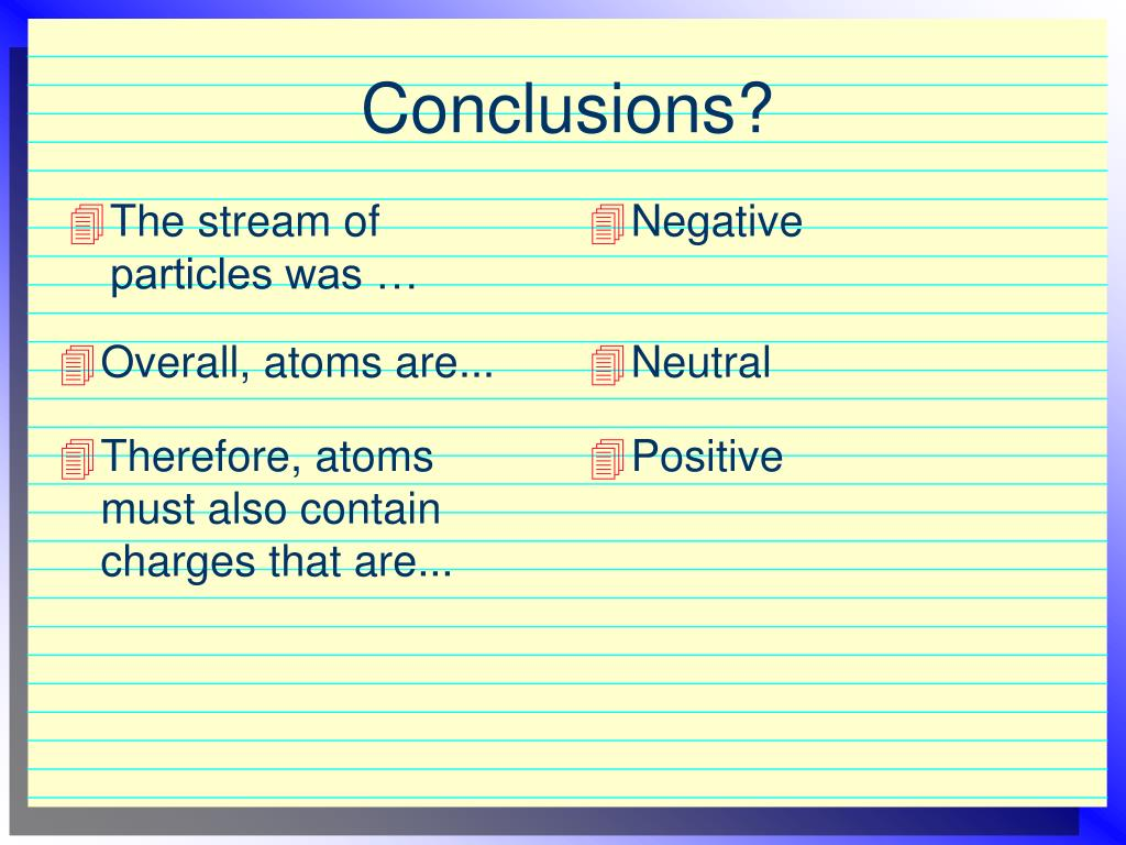 The stream of particles was …