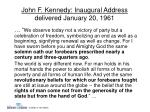 john f kennedy inaugural address delivered january 20 1961
