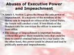 abuses of executive power and impeachment