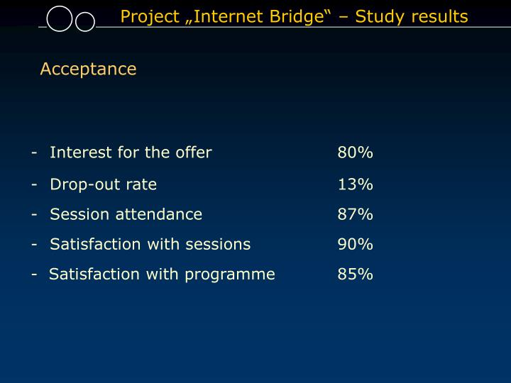 "Project ""Internet Bridge"" – Study results"