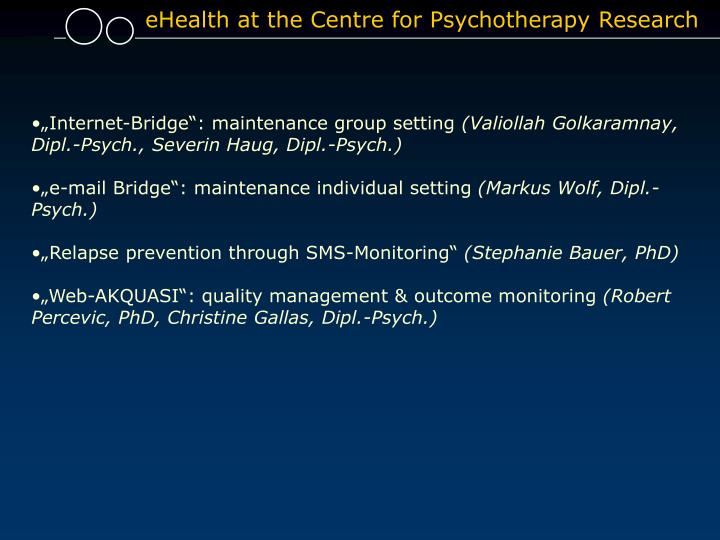 EHealth at the Centre for Psychotherapy Research