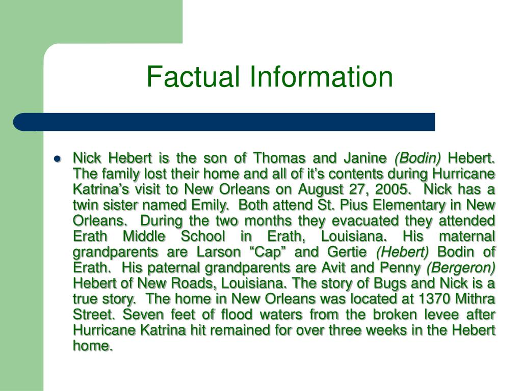 Factual Information