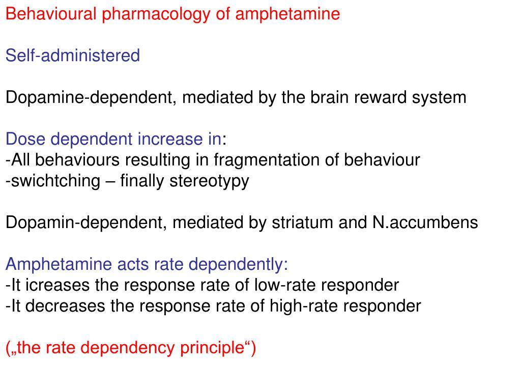 Behavioural pharmacology of amphetamine