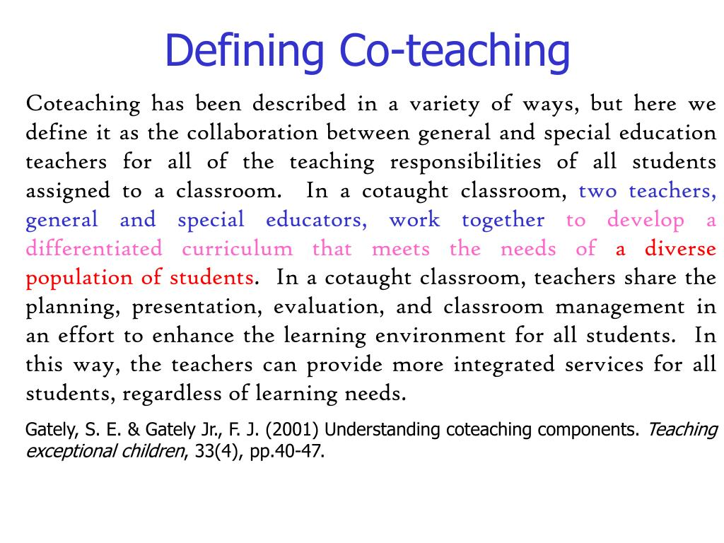 Defining Co-teaching