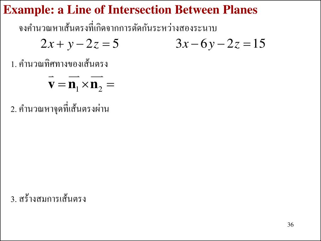 Example: a Line of Intersection Between Planes
