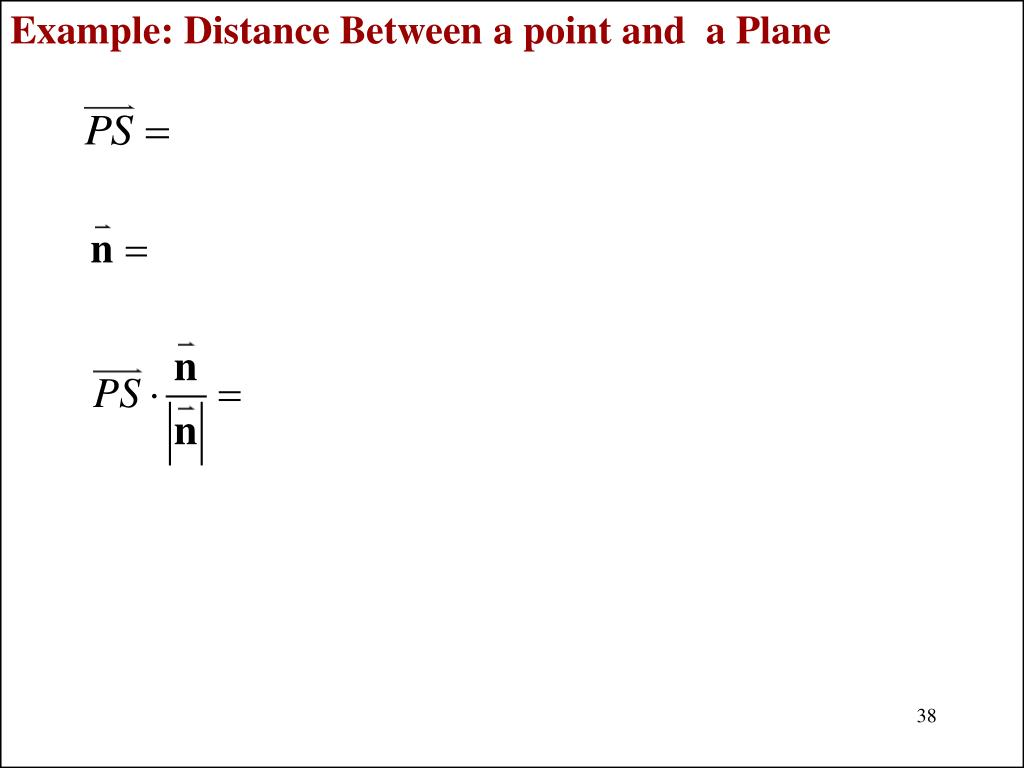 Example: Distance Between a point and  a Plane