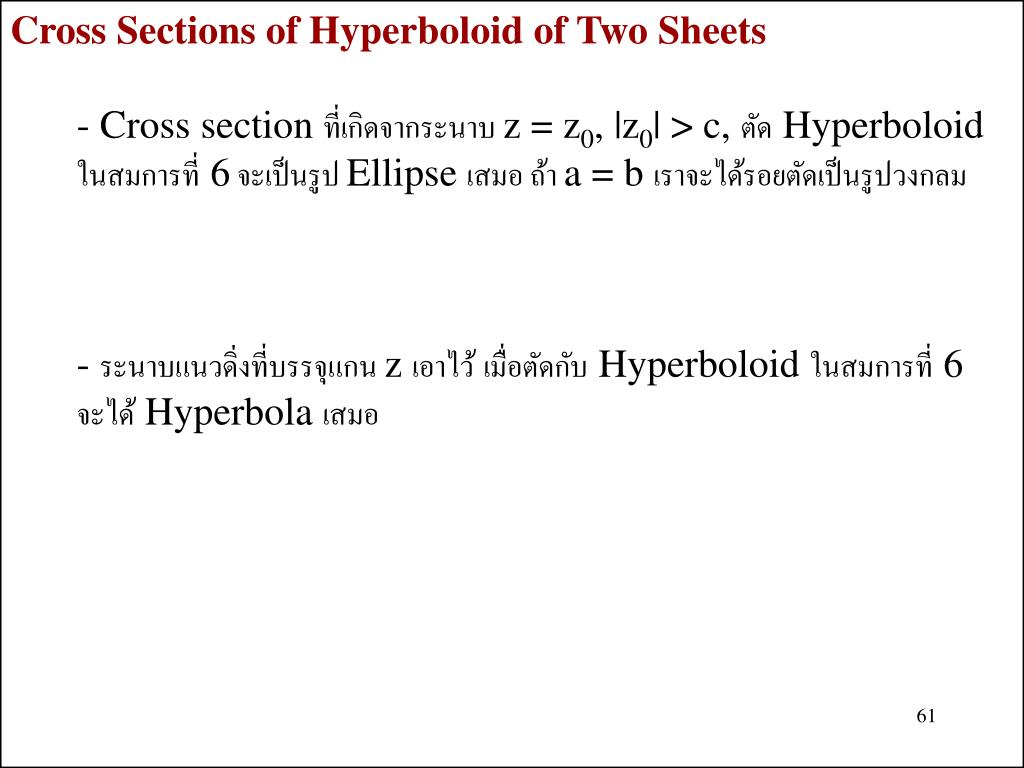 Cross Sections of Hyperboloid of Two Sheets