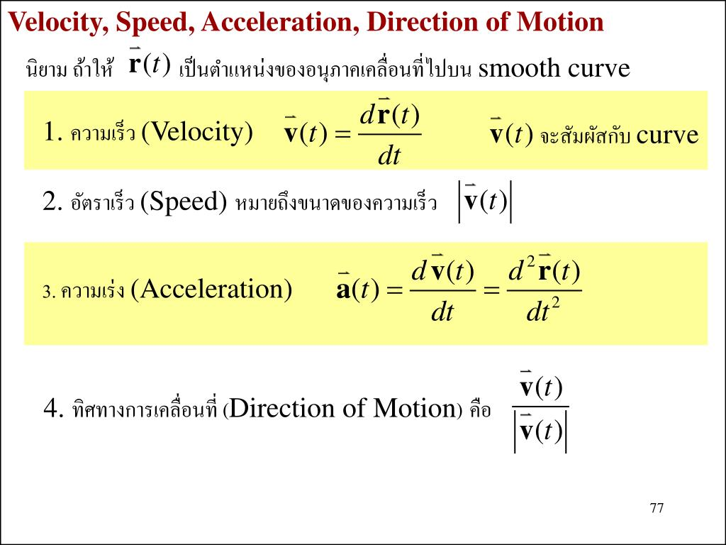 Velocity, Speed, Acceleration, Direction of Motion