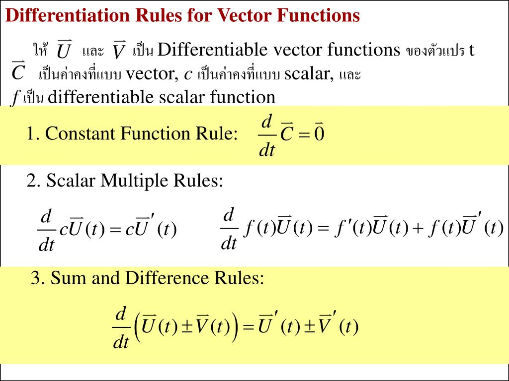 Differentiation Rules for Vector Functions