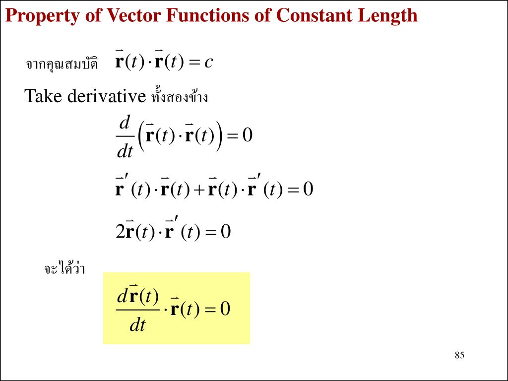 Property of Vector Functions of Constant Length