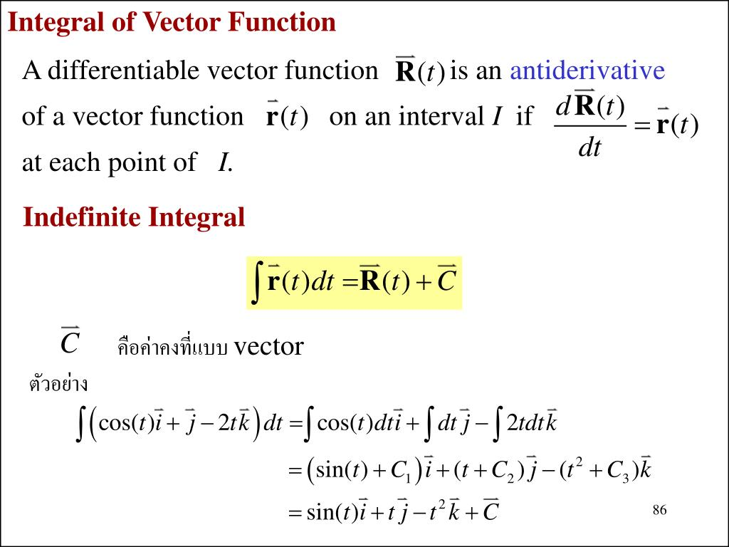 Integral of Vector Function