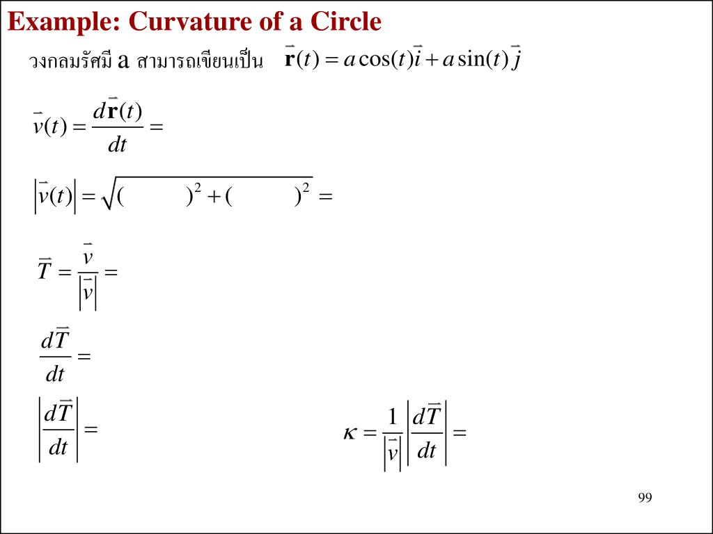 Example: Curvature of a Circle