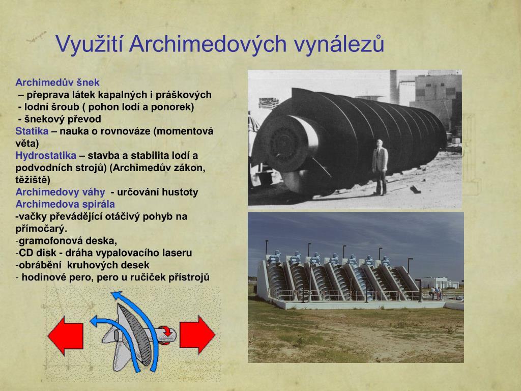 Využití Archimedových vynálezů