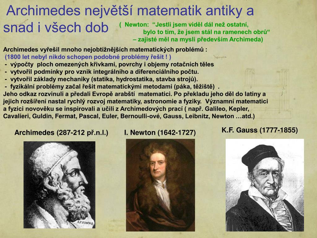 Archimedes největší matematik antiky a snad i všech dob