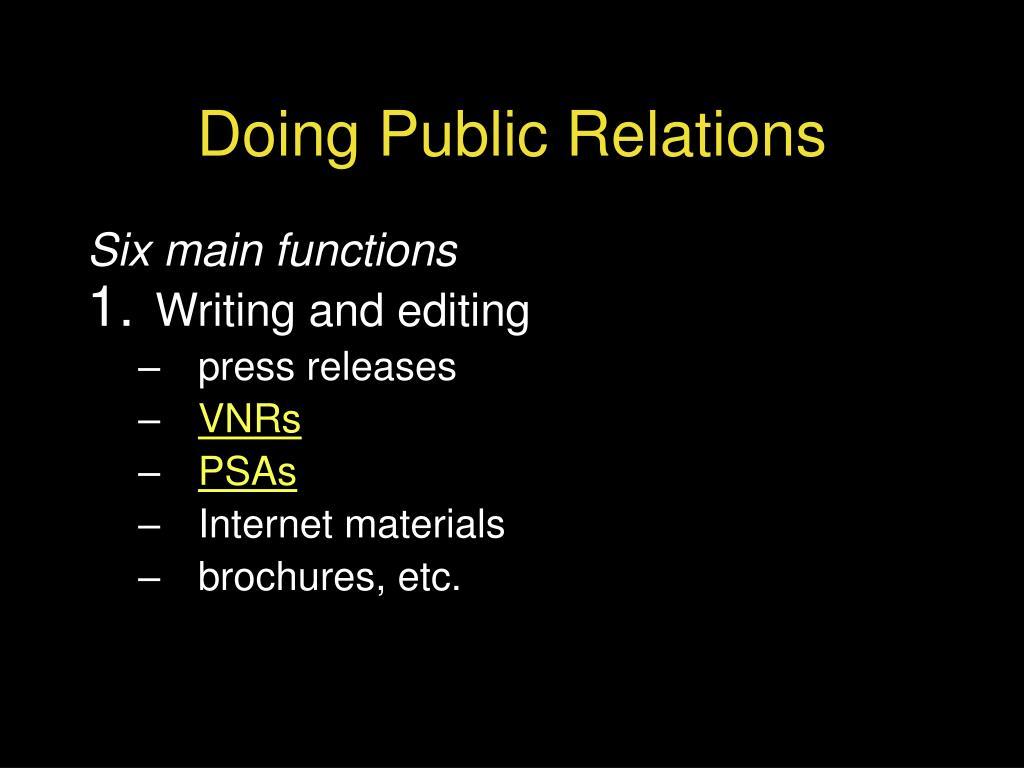 Doing Public Relations