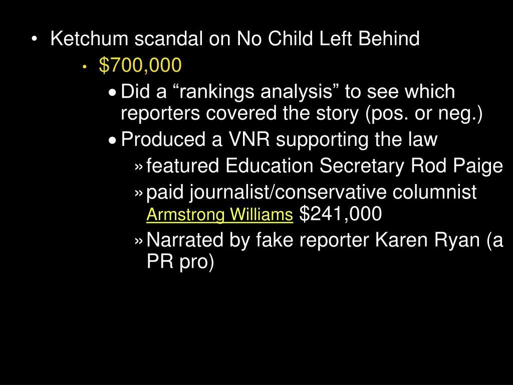 Ketchum scandal on No Child Left Behind