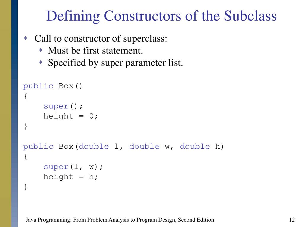 Defining Constructors of the Subclass