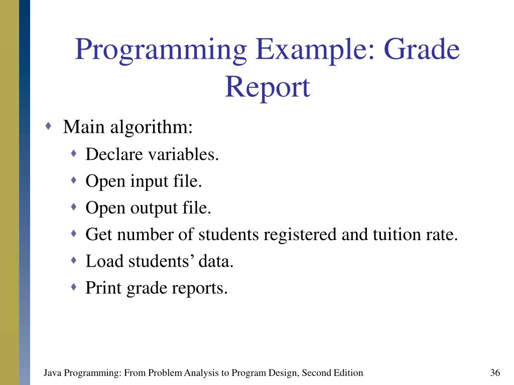 Programming Example: Grade Report