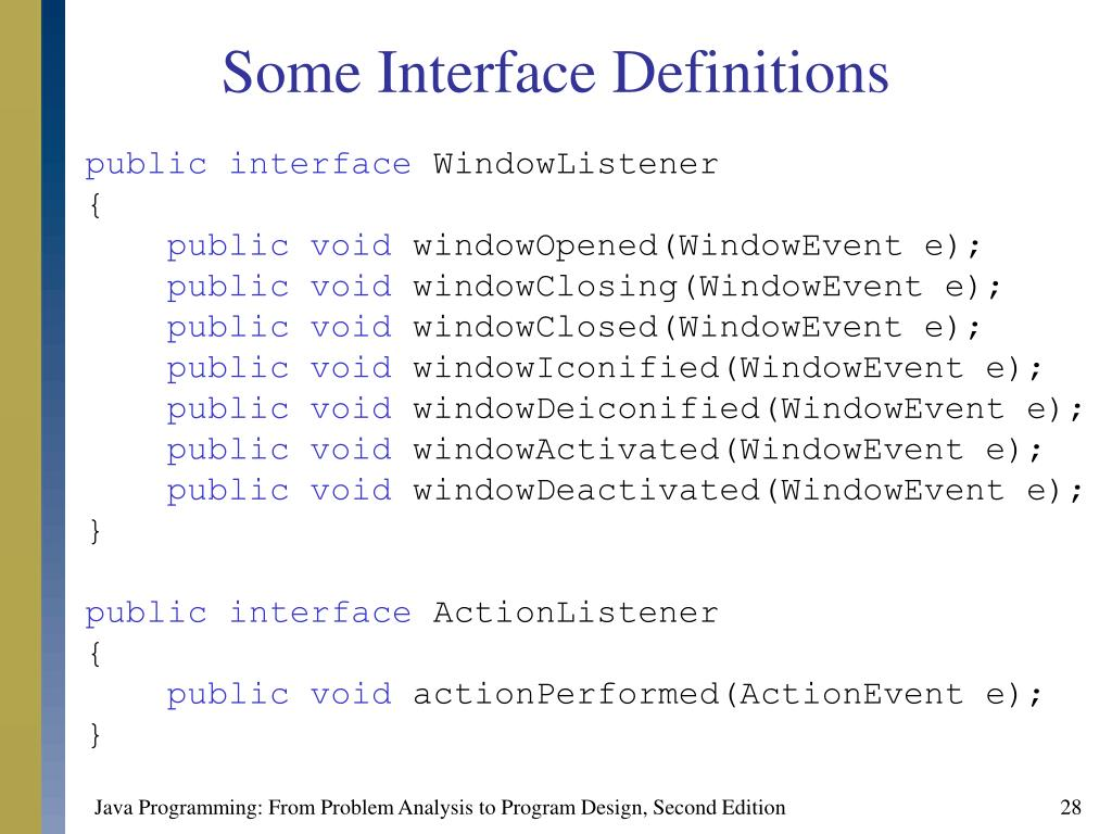 Some Interface Definitions