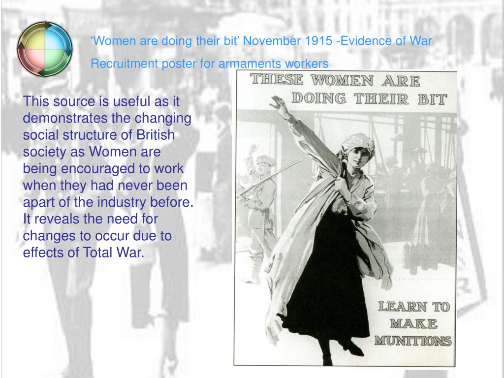 'Women are doing their bit' November 1915 -Evidence of War