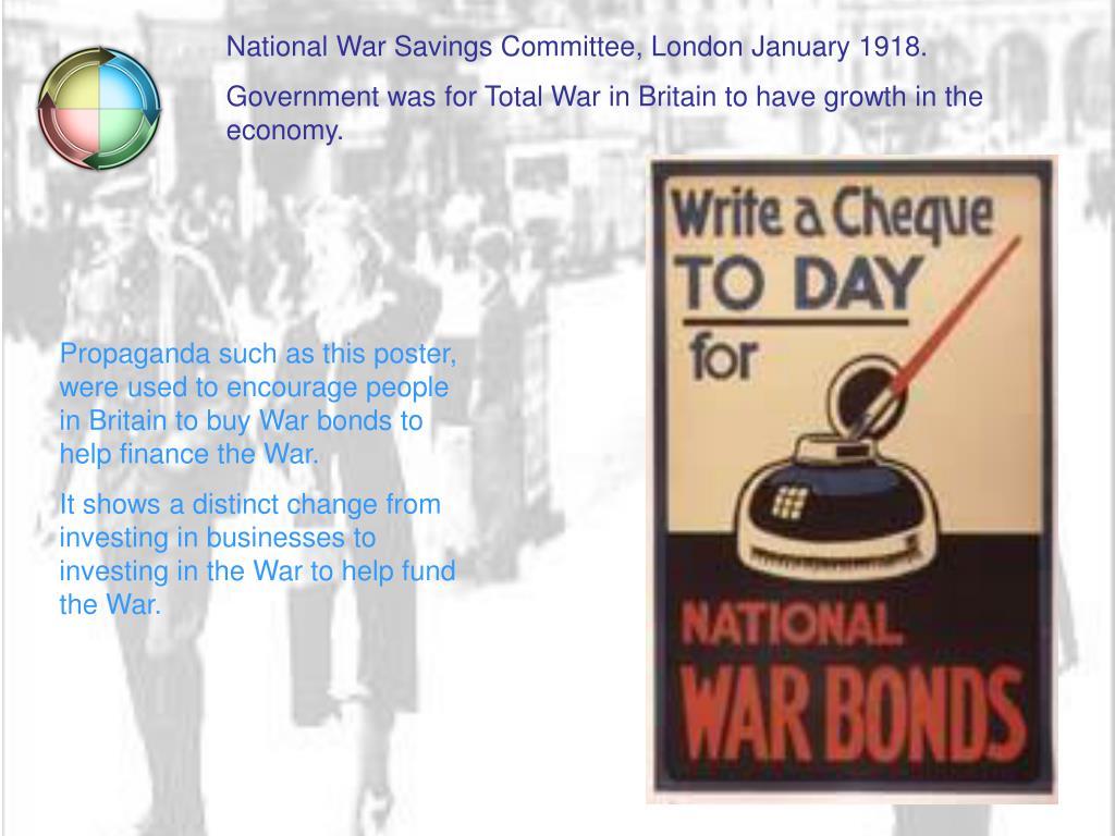 National War Savings Committee, London January 1918.
