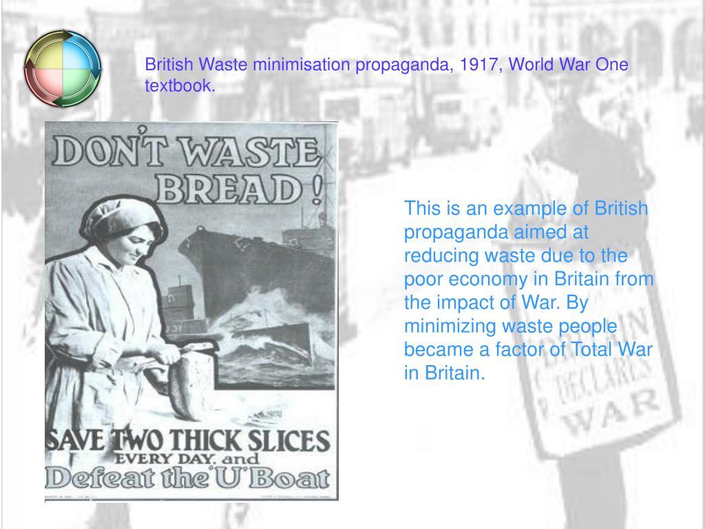 British Waste minimisation propaganda, 1917, World War One textbook.
