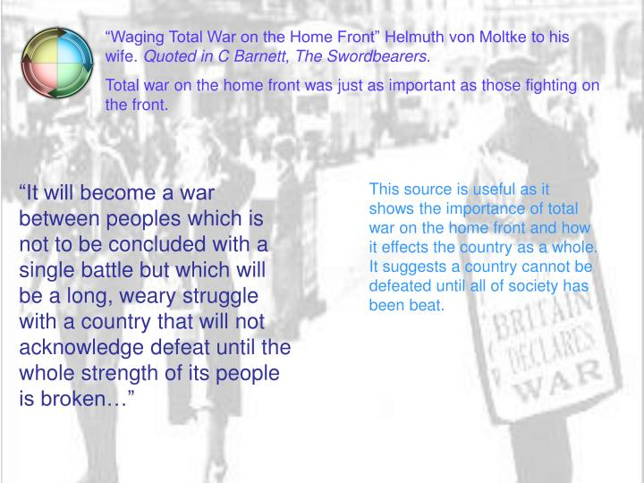 """""""Waging Total War on the Home Front"""" Helmuth von Moltke to his wife."""