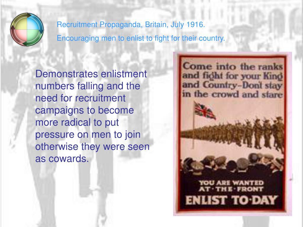 Recruitment Propaganda, Britain, July 1916.