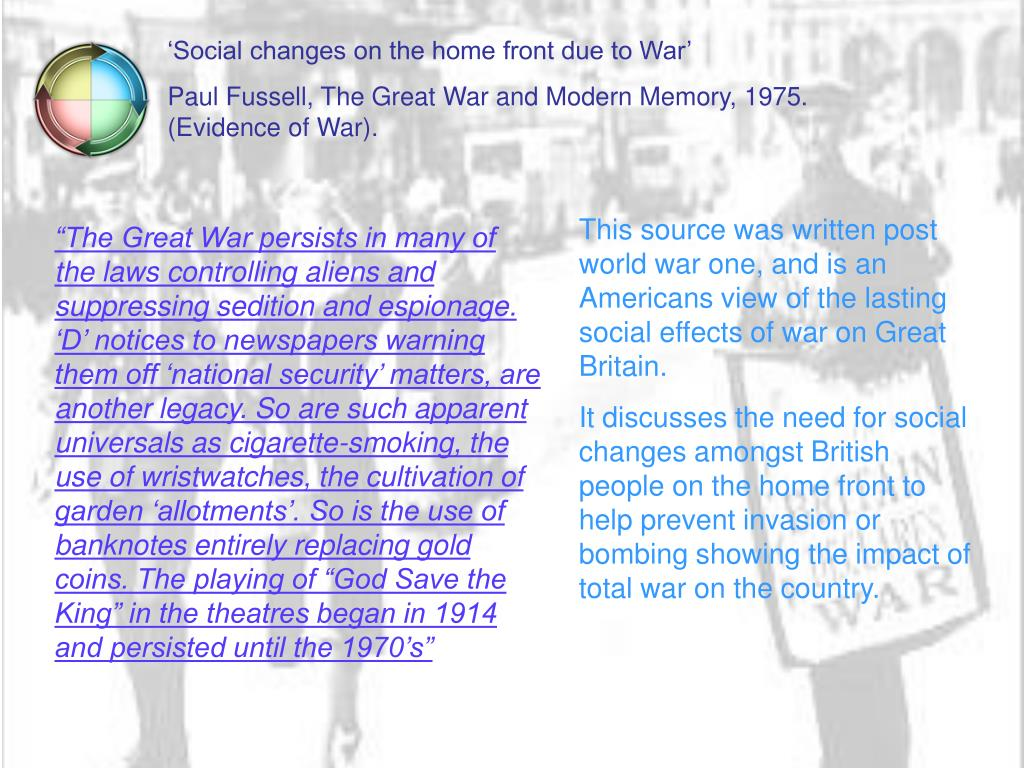 'Social changes on the home front due to War'