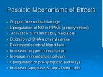 possible mechanisms of effects