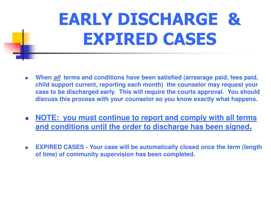 EARLY DISCHARGE  &