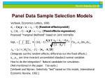 panel data sample selection models