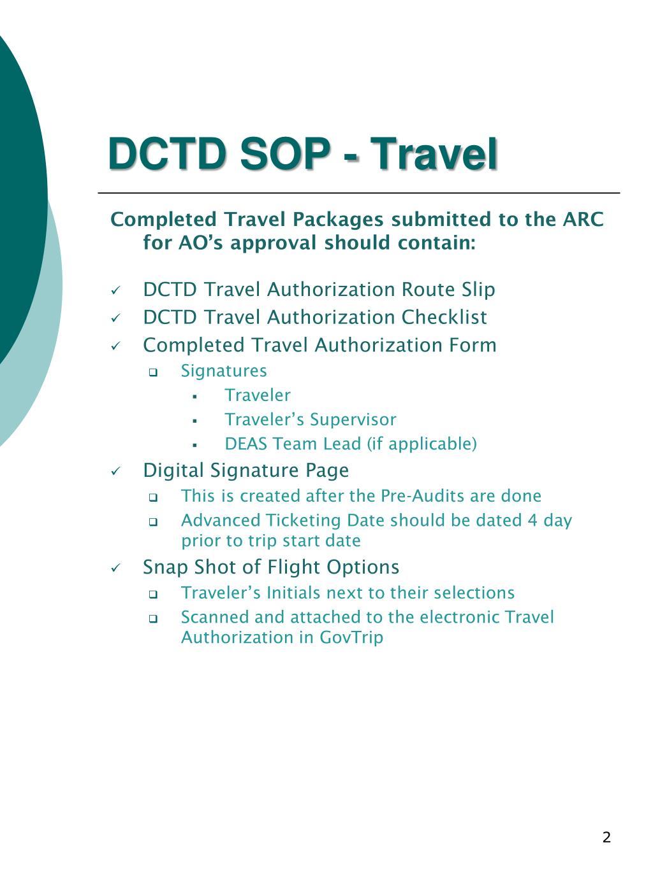 DCTD SOP - Travel