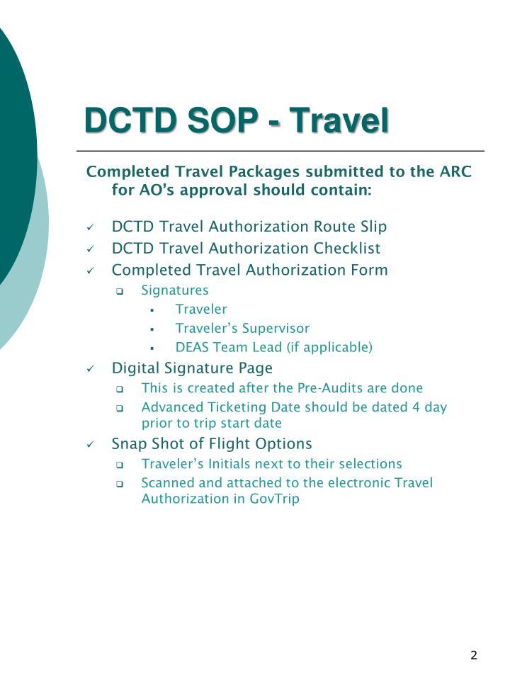 Dctd sop travel