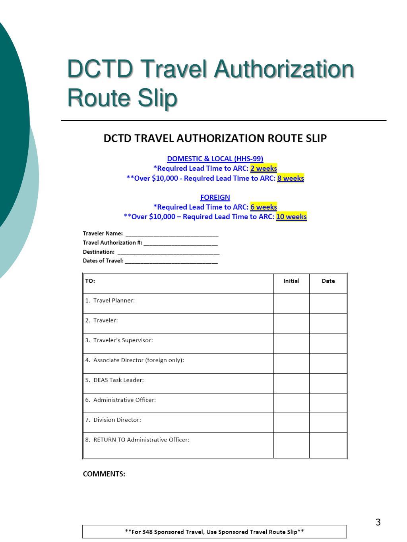 DCTD Travel Authorization Route Slip