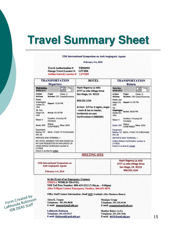 Travel Summary Sheet