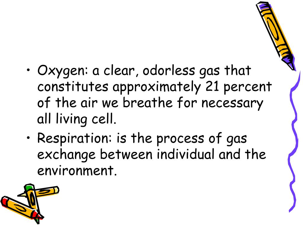 Oxygen: a clear, odorless gas that constitutes approximately 21 percent of the air we breathe for necessary all living cell.