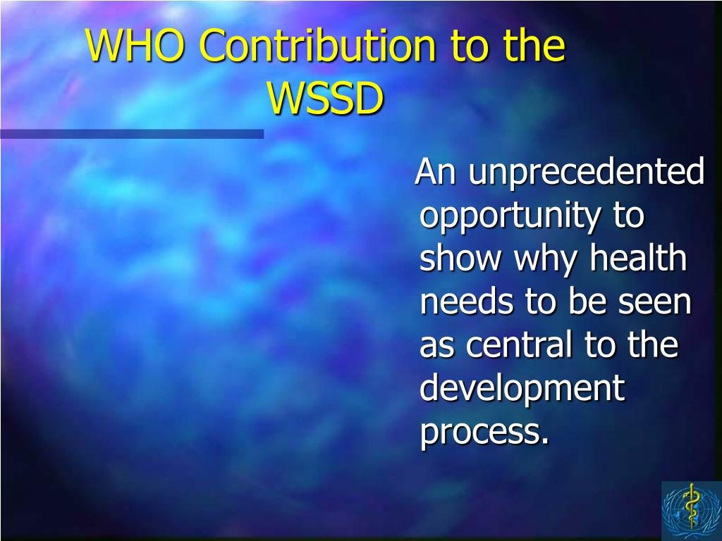 WHO Contribution to the WSSD