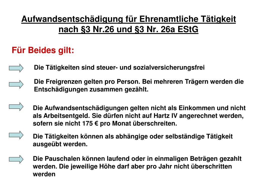 Aufwandsentschädigung für Ehrenamtliche Tätigkeit nach §3 Nr.26 und §3 Nr. 26a EStG