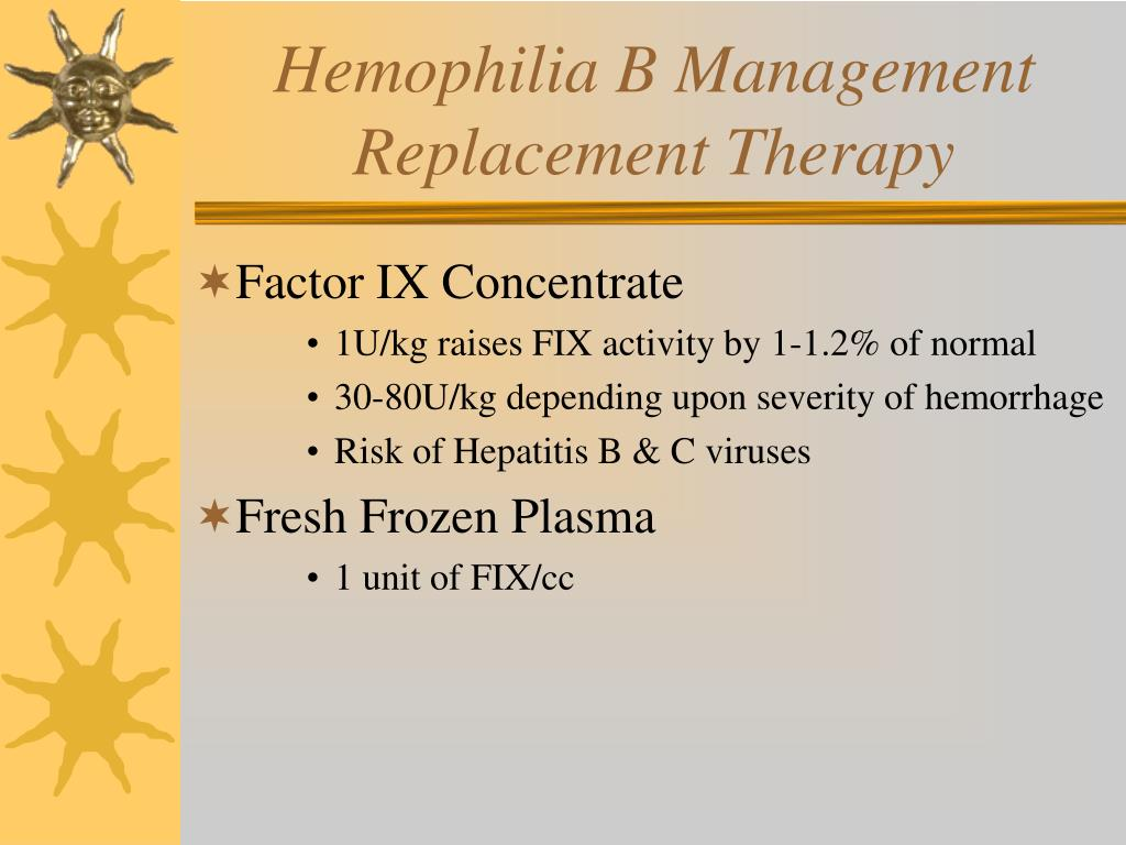 Hemophilia B Management Replacement Therapy