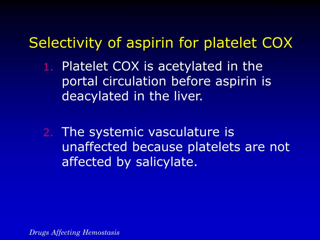Selectivity of aspirin for platelet COX