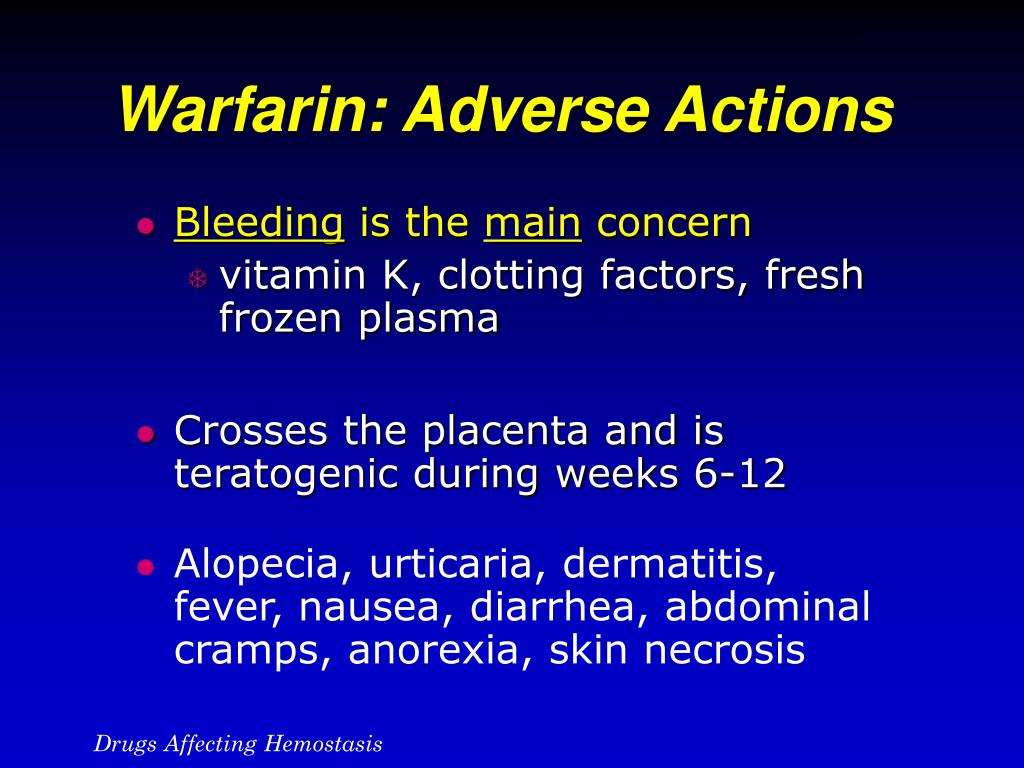 Warfarin: Adverse Actions