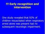 early recognition and intervention