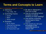terms and concepts to learn