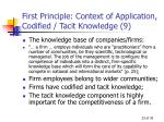 first principle context of application codified tacit knowledge 9
