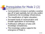 prerequisites for mode 2 2
